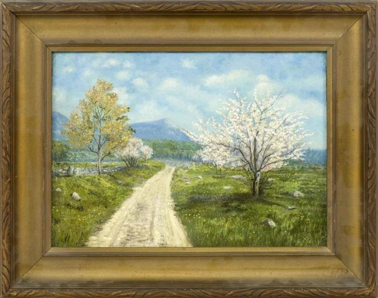 AMERICAN SCHOOL, Early 20th Century, Spring valley landscape with a dirt road., Oil on board, 10