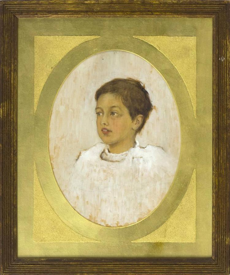 AFTER LYDIA FIELD EMMET, 20th Century, Bust portrait of a young boy, Mixed media on plywood, 14