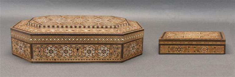 TWO INLAID SANDALWOOD BOXES One octagonal and the other rectangular. Both with star decoration in fruitwoods and mother-of-pearl. De...