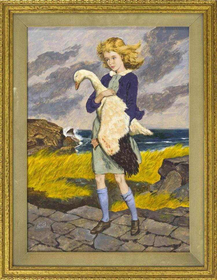 AMOS SEWELL, California, 1901-1983, A young girl carrying a goose., Oil on board, 18