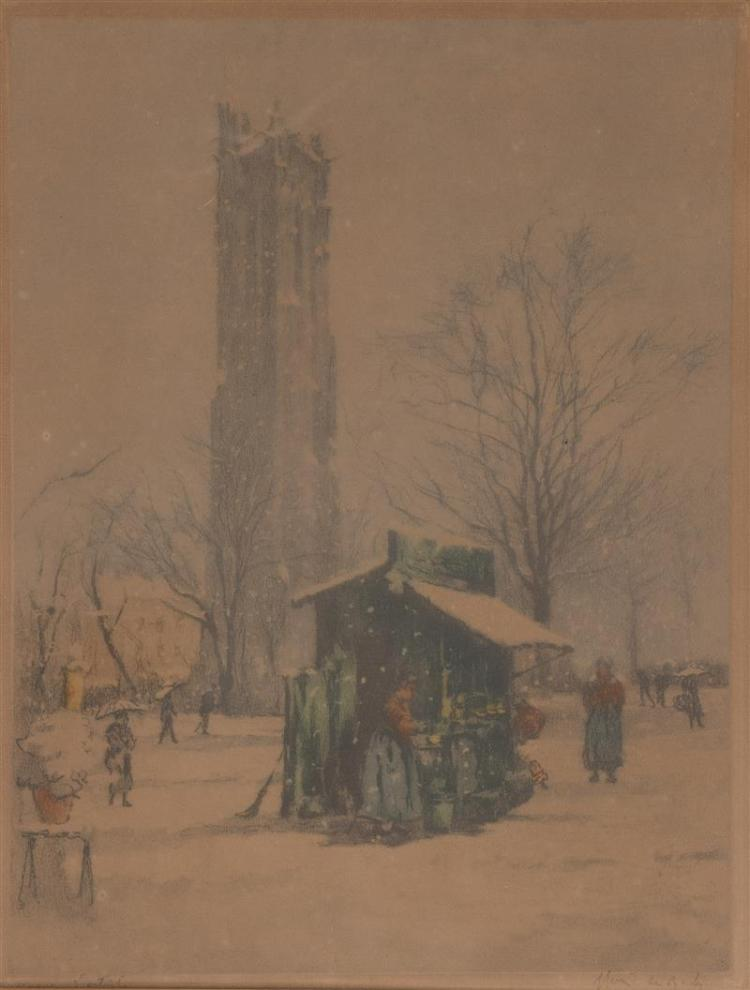 FRAMED COLORED ETCHING Park scene in winter. Titled and signed illegibly at lower left margins in pencil. 13.25