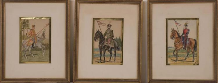 THREE FRAMED WATERCOLORS Depicting Russian cavalry. Each with handwritten inscription on the reverse. Two with partially visible mon...
