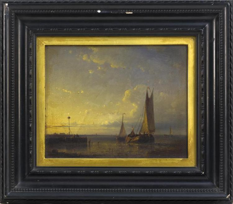 DUTCH SCHOOL, 19th Century, Harbor scene., Oil on panel, 7.25