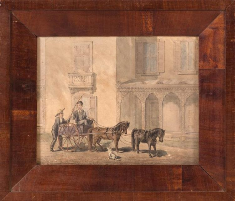 CONTINENTAL SCHOOL, Late 19th/Early 20th Century, Genre scene with two boys and a horse-drawn cart., Watercolor and gouache on paper...