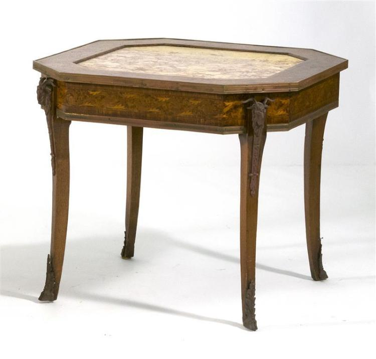 MARBLE AND MARQUETRY OCCASIONAL TABLE The octagonal top inset with brèche violette marble bordered by rose vine and ribband inlay ag...