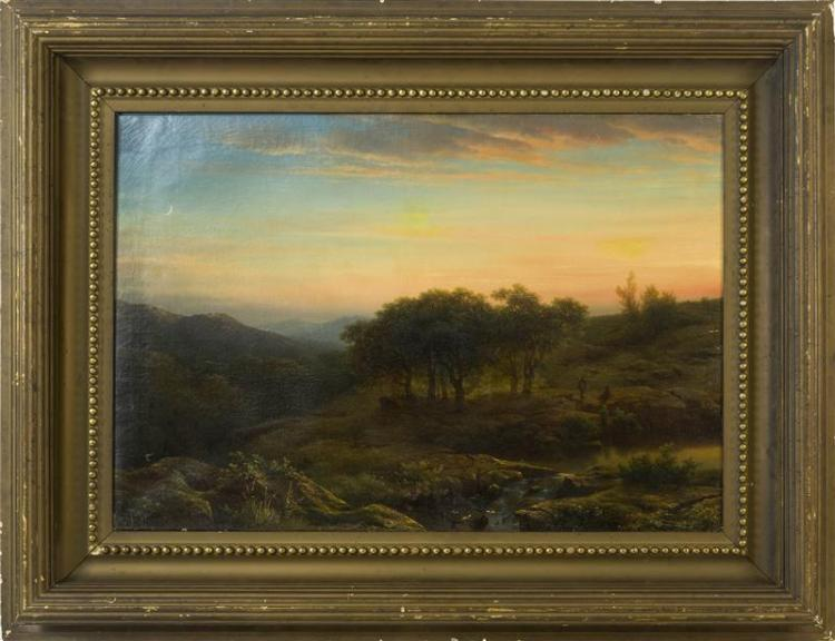 ATTRIBUTED TO CORNELIS LIESTE, Dutch, 1817-1861, Hikers and sunset., Oil on canvas, 27