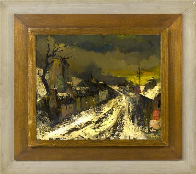 OLIVIER FOSS, American, 1920-2002, Snowy street scene., Oil on canvas 18.5