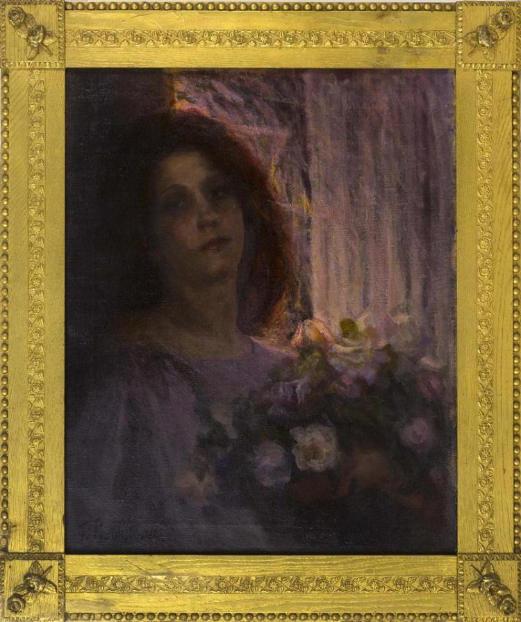 CONTINENTAL SCHOOL, Early 20th Century, Woman with roses., Oil on canvas, 25