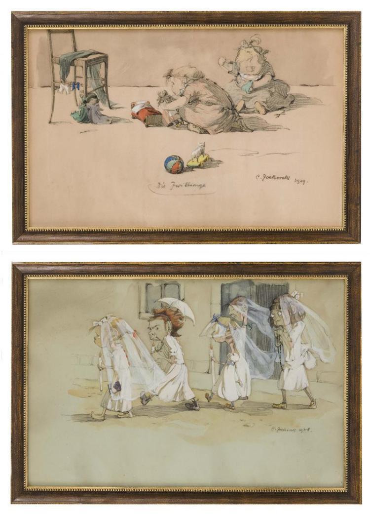 ZOE BORELLI VRANSKI ALACEVICH DE CINQUE, CONTESSA DI CROW, Croatian, 1888-1980, Two works: