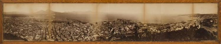 EARLY PHOTOGRAPHIC PANORAMIC VIEW OF NAPLES, ITALY Achille Mauri, photographer. Albumen print depicting the Gulf of Naples with the...