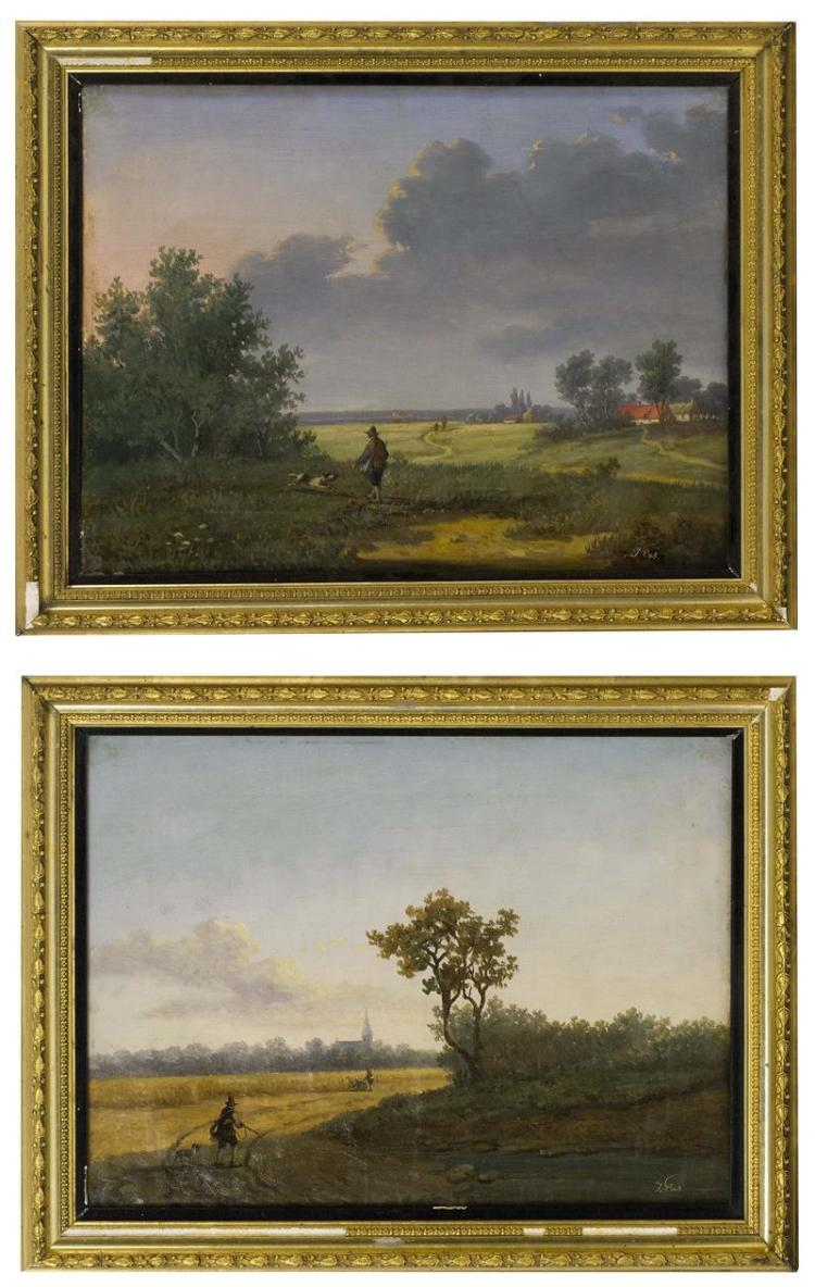 CONTINENTAL SCHOOL, 18th/19th Century, Pair of landscapes with a hunter and his dog., Oil on canvas, 11.5