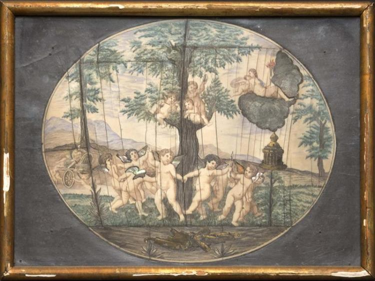 POLYCHROME ENGRAVED OVAL PANEL Depicting a classical landscape. With numerous cherubs, many with inlaid mother-of-pearl wings. 6.75