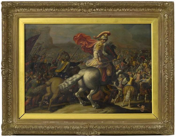 CONTINENTAL SCHOOL, 19th Century, A battle scene., Oil on copper, 12.5
