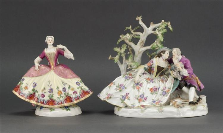TWO MEISSEN PORCELAIN FIGURE GROUPS One depicts two lovers and game sitting by a tree, height 9.75
