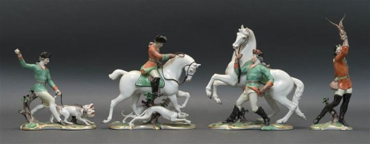 FOUR DRESDEN PORCELAIN FIGURE GROUPS Two depict a man on horseback, one depicts a man with two hounds, and one depicts a man with a...