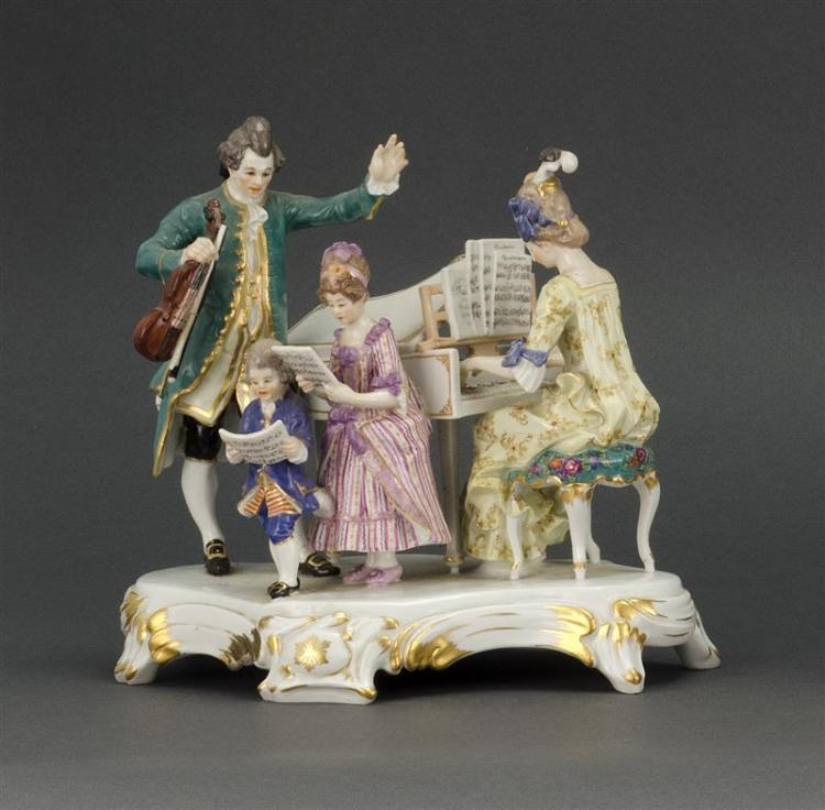 MEISSEN PORCELAIN FIGURAL GROUP Depicts musicians. Height 8.25