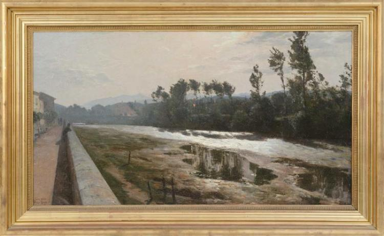 VIGGO CHRISTIAN PEDERSEN, Danish, 1854-1926, The River Liri, Sora, Italy., Oil on canvas, 24.5