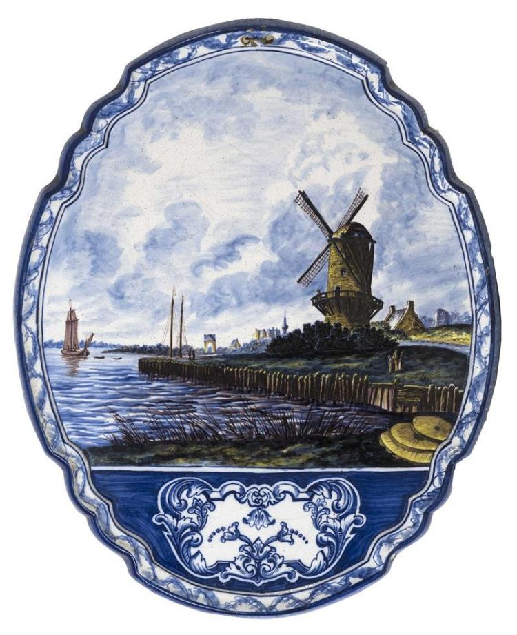 DELFT POTTERY PLAQUE In lozenge form with windmill and shipping design. Marked