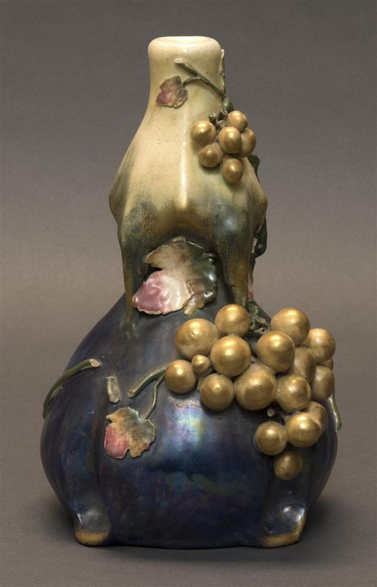 AMPHORA POTTERY VASE In double gourd form with relief grape and grapevine design. Height 9.5