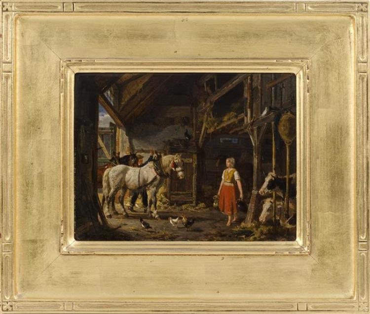 LOUIS VAN KUCYK, Continental, 1821-1871, Feeding the chickens., Oil on panel, 9