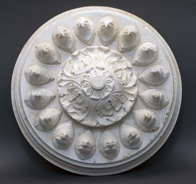 WOOD AND PLASTER CEILING MEDALLION ATTRIBUTED TO IRVING & CASSON/A.H. DAVENPORT & CO. Circular with central acanthus leaf finial sur...