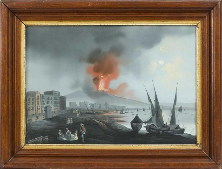 ITALIAN SCHOOL, 19th Century, The Bay of Naples with an erupting Vesuvius., Gouache, 14