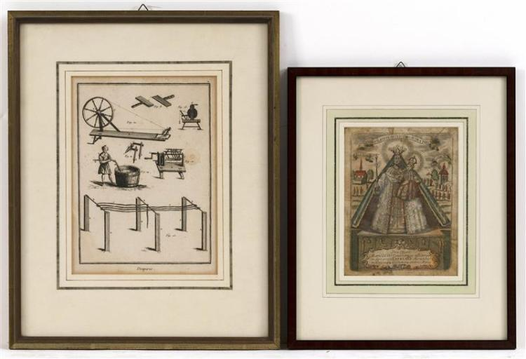 TWO FRAMED ENGRAVED BOOKPLATES One hand-colored depicting the Infant of Prague. 6.75
