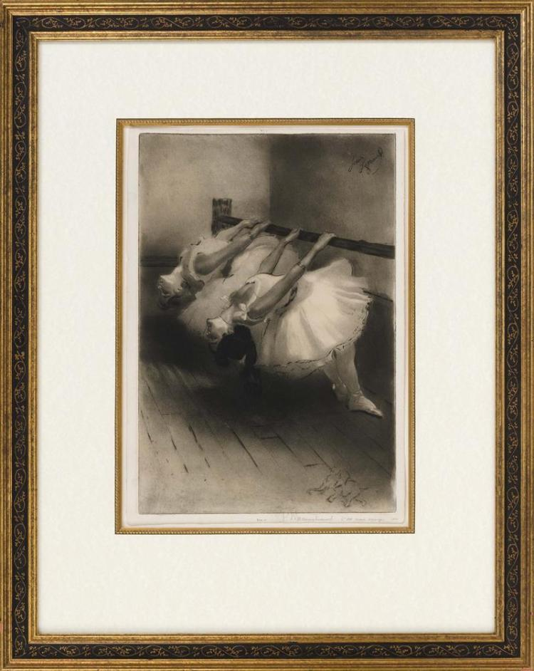 LOUIS LEGRAND, French, 1863-1951, Two ballet dancers at the barre., Drypoint etching, plate 16.5