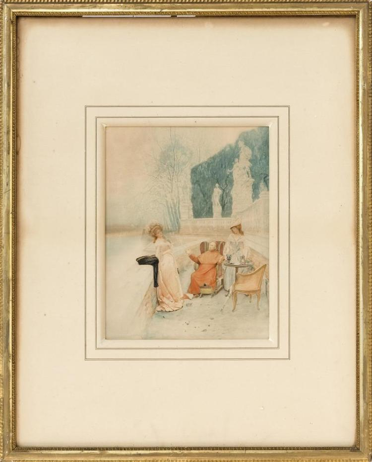 ITALIAN SCHOOL, Late 19th Century, A cardinal and two ladies in a garden., Aquatint on paper, 13.5
