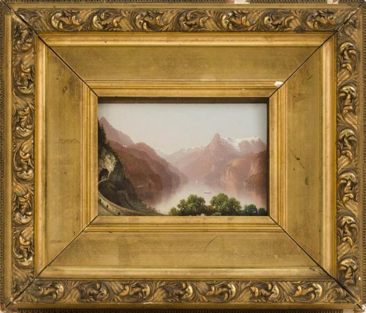 CONTINENTAL SCHOOL, 19th Century, Road through the Alps., Oil on board, 4