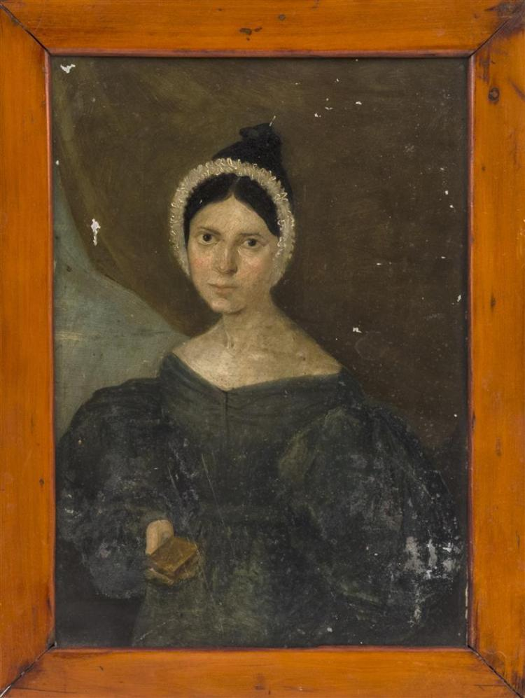 CONTINENTAL SCHOOL, 19th Century, Portrait of woman holding a book., Oil on tin, 10
