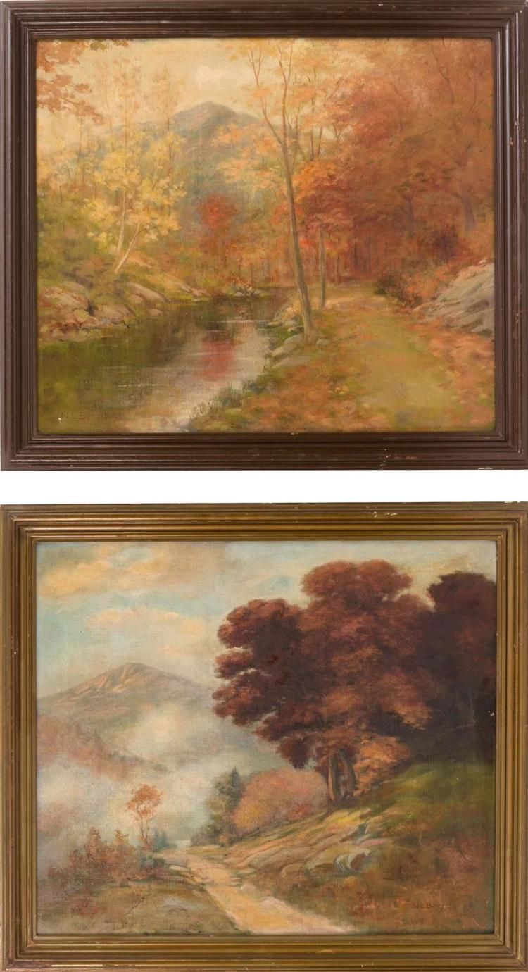NATHANIEL LEANDER BERRY, American, 1859-1929, Pair of autumnal mountain landscapes., Oils on canvas, 20
