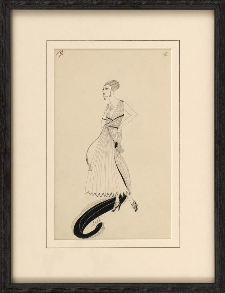 ROMAIN (ERTÉ) DE TIRTOFF, Russian/American, 1892-1990, Portrait of an elegantly dressed woman., Ink on paper, 9