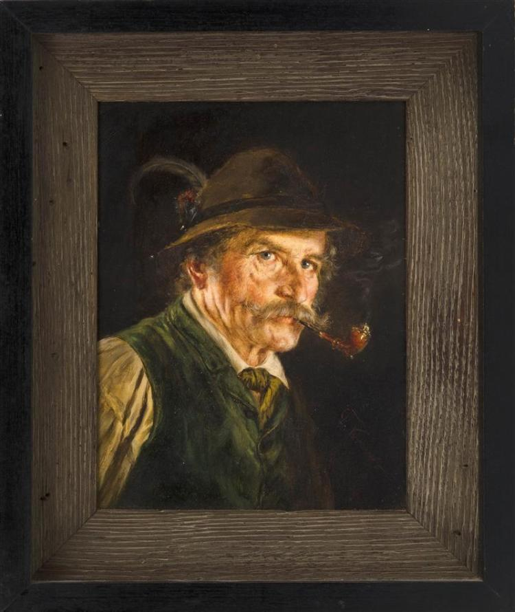 FRIEDRICH KRAUS, German, 1826-1894, Portrait of a man with a pipe., Oil on board, 8