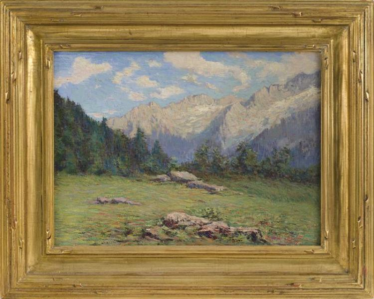 AUGUSTO LAFORET, Italian, 1881-1970, Mountain vista., Oil on board, 11.5