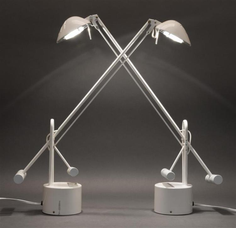 PAIR OF MODERNIST ENAMELED METAL TASK LAMPS Glossy white finish. Fully adjustable. Fifty-watt max. Heights to 23.5