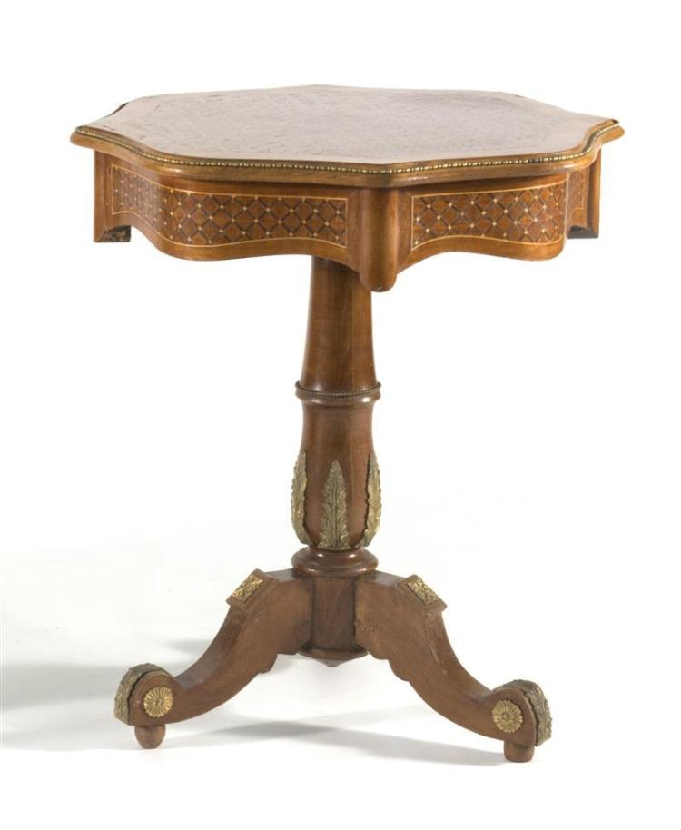 LOUIS XV-STYLE SIDE TABLE In walnut and fruitwood with octagonal top. Marquetry and gilt metal inlay to pedestal base and legs. Heig...