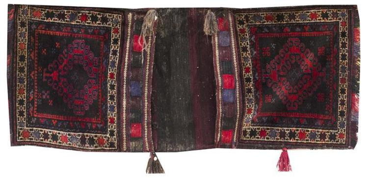 ORIENTAL RUGS: PAIR OF CONJOINED AFGHANI SADDLEBAGS 2'2