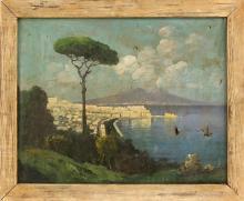 "EMILIO PASINI, Italian, 19th Century, The Bay of Naples., Oil on canvas, 20"" x 25"". Framed 23"" x 28""."