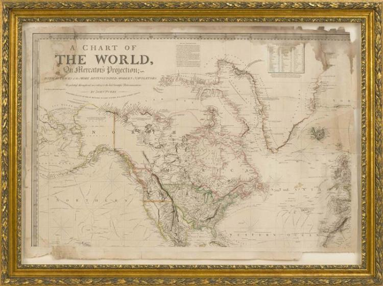 TWO FRAMED HAND-COLORED MAPS