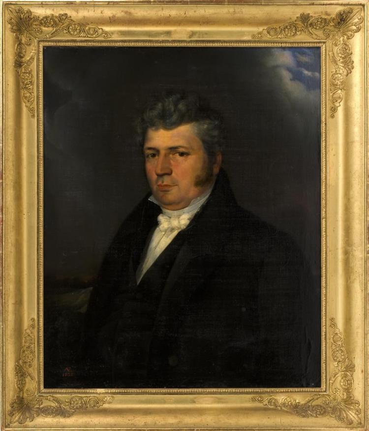 CONTINENTAL SCHOOL, 19th Century, Portrait of a gentleman., Oil on canvas, 32