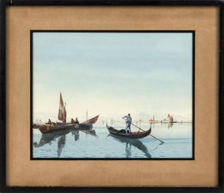 ITALIAN SCHOOL, Late 19th Century, Venetian scene., Watercolor, 15