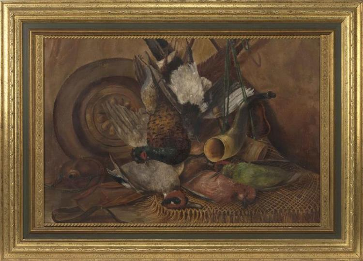 CONTINENTAL SCHOOL, 19th Century, Still life of hanging game., Oil on canvas, 22.25