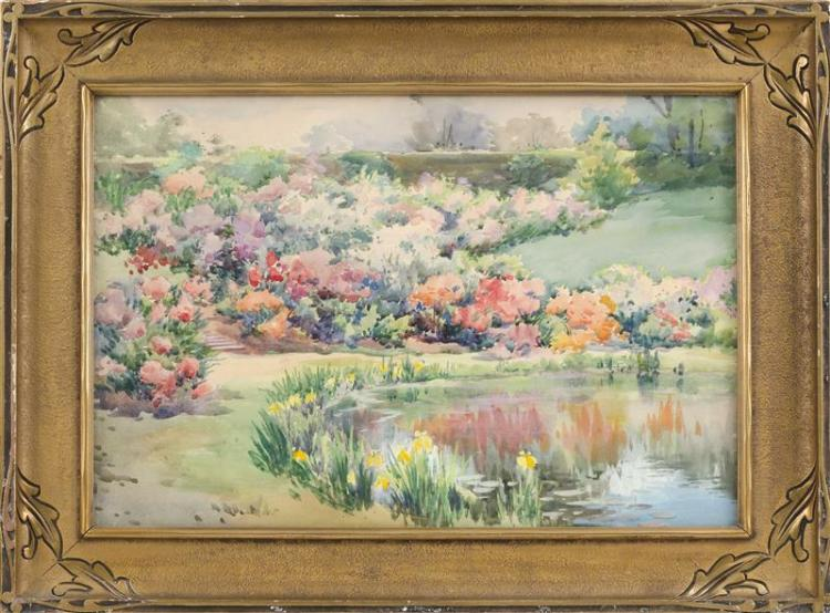 AMERICAN SCHOOL, Early 20th Century, Colorful garden landscape., Watercolor, 13