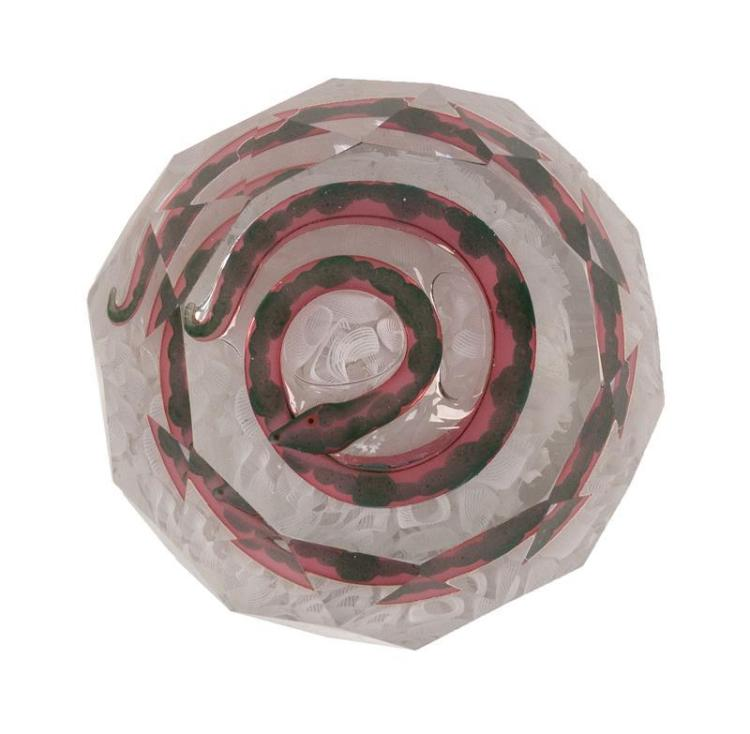 FACETED ST. LOUIS SNAKE PAPERWEIGHT Coiled pink and green snake on broken white cane ground. Diameter 3