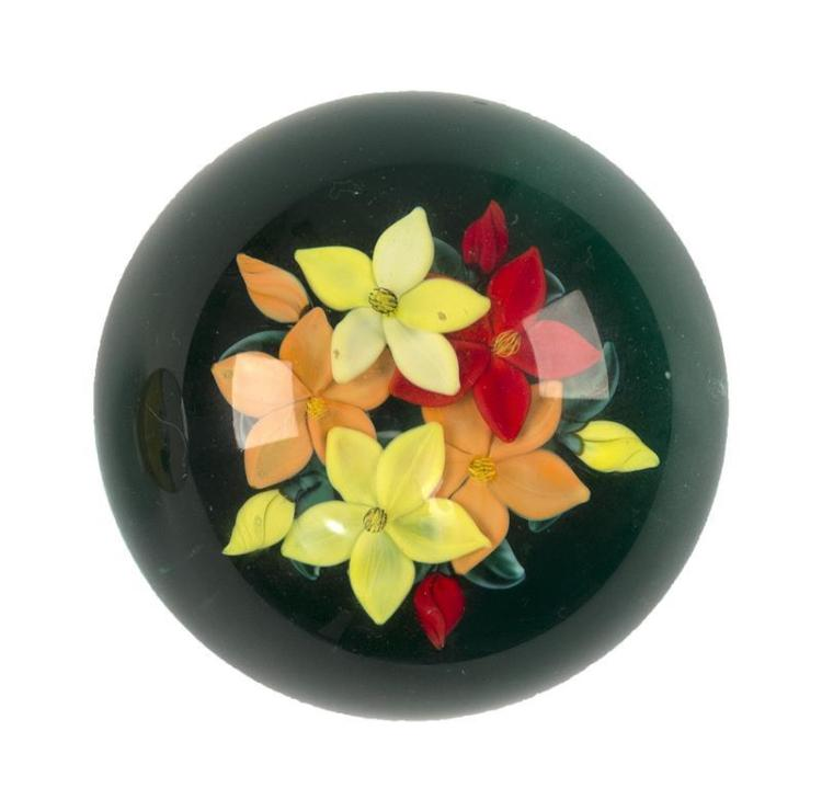 CONTEMPORARY FLORAL PAPERWEIGHT Signed