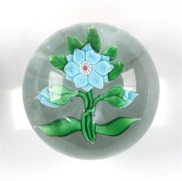 NEW ENGLAND GLASS COMPANY BLUE POINSETTIA PAPERWEIGHT With cut star bottom. Diameter 2.5
