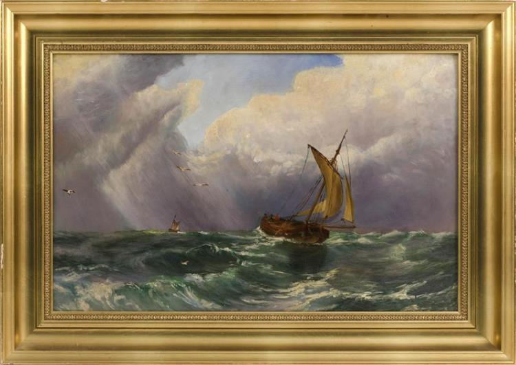 CONTINENTAL SCHOOL, Late 19th Century, Ship under stormy skies., Oil on board, 12