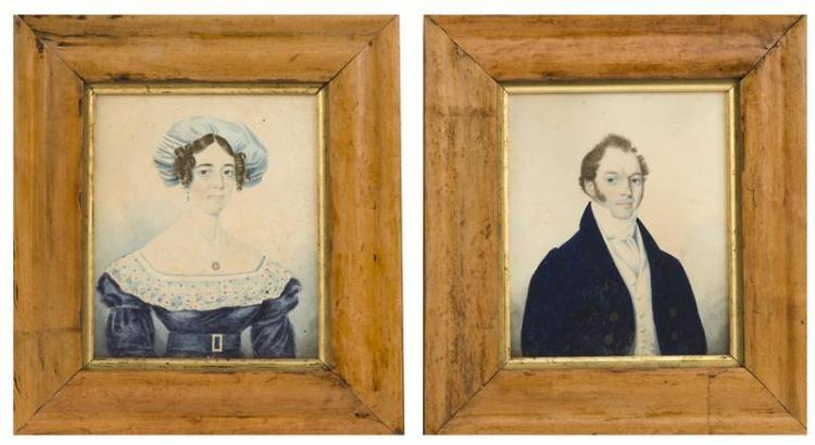 PAIR OF WATERCOLOR BUST PORTRAITS A young man and a young woman. Man with brown hair and blue eyes wearing a navy blue coat with whi...