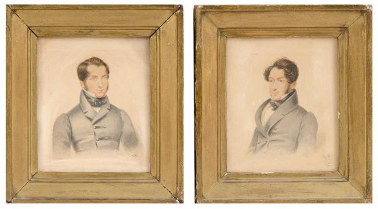 TWO WATERCOLOR BUST PORTRAITS Both of young gentlemen with brown hair and wearing gray coats. Unsigned. Each 6